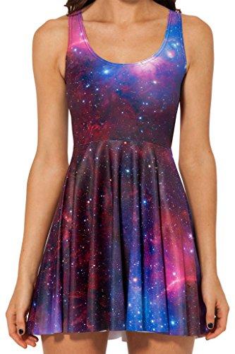 Sister Amy Women s Galaxy Printed Elastic Sleeveless Shaping Camisole Skater PurpleRed Medium