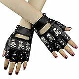 スカル パンクスタッズ りレザーロック手袋 本革 指なし 女性 手袋 #3034
