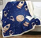 Space Adventure Rocket Astronaut Planet Throw Blanket Navy Blue Soft Lightweight Flannel Fleece Blanket for Baby Kids Youth Adult (Rocket, 50'x60')
