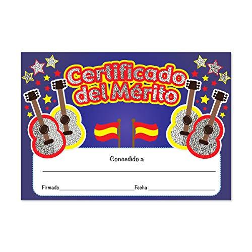 SuperStickers DMC13784 Certificado del Merito Gitaren Sprankelend Spaans Certificaat