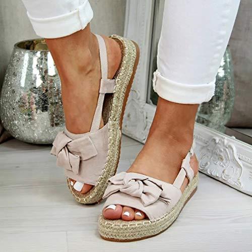 XXXZZL Zapatos Planos de Mujer Sandalias Mujer Verano Boca de Pescado Cuerda de Cáñamo Sandalias con Punta Abierta para Mujer Casual Moda Plataforma Zapatillas de Verano Antideslizante,Beige,39EU ⭐