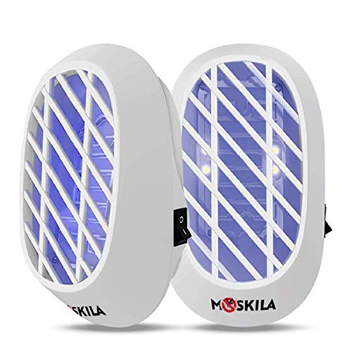 MOSKILA Electronic Bug Zapper - Indoor Insect Killer Mosquito Pest Lamp Electrocution Bugs Gnat Moths Wasp Hornets Zapper with Blue Light Noiseless Insect Killer Plug-in Electric Trap 2 Packs