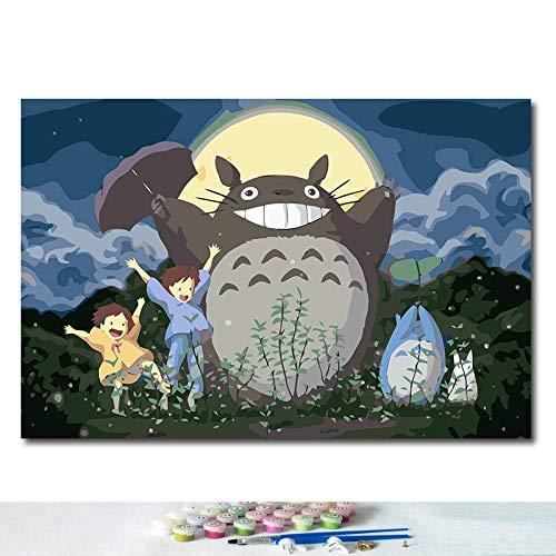 JHGJHK Hayao Miyazaki Anime Cartoon My Neighbor Totoro Comic Movie Pintura al óleo Mural Family Room Decoración Pintura (Imagen 7)