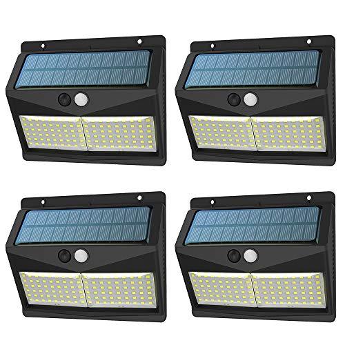 Solarlampen für Außen mit Bewegungsmelder,【3 Modi 108 LED 2000mAh】SINJIAlight Solarleuchte Aussen IP65 Solar Wasserdichte Wandleuchte 180 ° Erkennung Solar Aussenleuchte Solarlicht für Garten-4 Stück