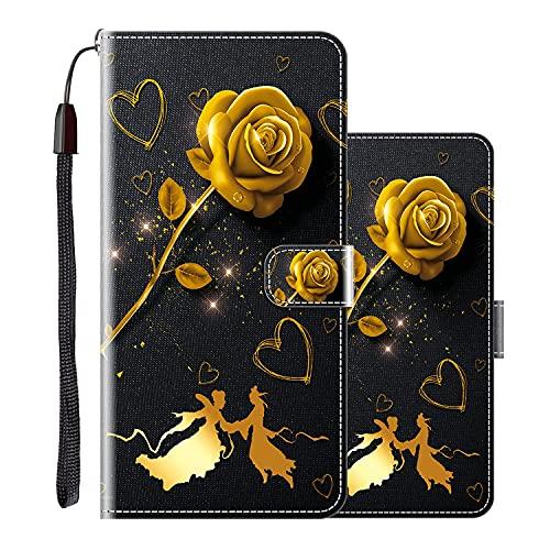 vingarshern Hülle für Huawei P Smart (2021) Handytasche Klappbares Magnetverschluss Lederhülle Flip Etui Standfunktion Hülle Huawei P Smart 2021 Schutzhülle Leder Brieftasche(Goldene Rose) MEHRWEG