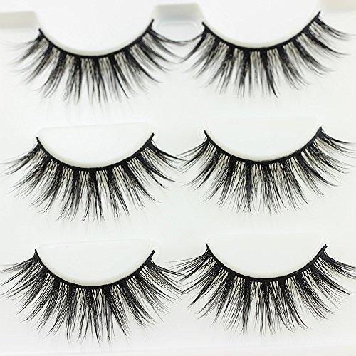 Momoxi Lidschatten,Augen Make-up Augenbrauenstift 3 Paare dickes langes Kreuz Party falsche Wimpern schwarzes Band gefälschte Wimpern