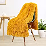 LOCHAS Super Soft Shaggy Faux Fur Blanket, Plush Fuzzy Bed Throw Decorative Washable Cozy Sherpa Fluffy Blankets for Couch Chair Sofa (Yellow 60' x 80')