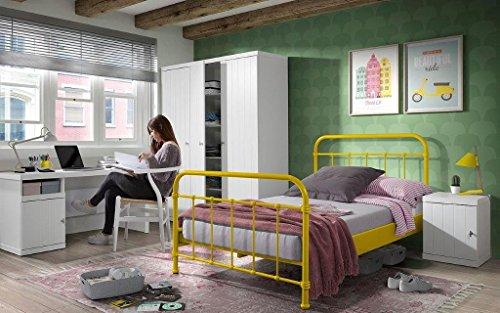 Dreams4Home Metallbett \'Difo X\' - Jugendbett, Kinderbett, Einzelbett, Singlebett, Maße: (B/H/T) 129 x 111 x 210 cm, Kinderzimmer, Jugendzimmer, Schlafzimmer, Gästezimmer, modern, 1 Lattenrost, Rohrrahmen, Pulverbeschichtet, in gelb