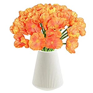 CHAMER Artificial Orange Poppy Flowers-Fake Flower Decorative Flower+Real Touch PU Poppies Fake Flowers for Wedding Party Home Office DIY Hotel Decoration(Orange)(vase not Include)