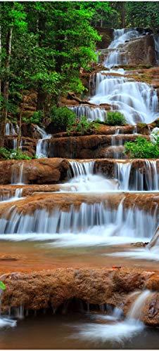 wandmotiv24 Türtapete Wasserfall im Wald.Thailand 100 x 200cm (B x H) - Dekorfolie selbstklebend Sticker für Türen, Tür-Bilder, Aufkleber, Deko Wohnung modern M0894