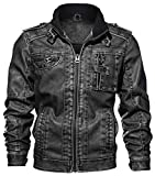 chouyatou Men's Casual Long Sleeve Zip-Up Distressed Faux Leather Moto Jacket (Large, Grey)