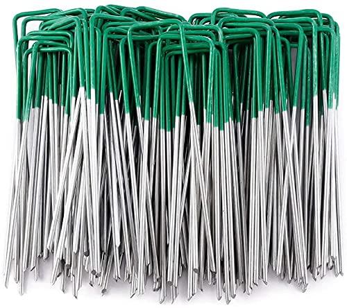 Yicare 100 Pack Artificial Grass Turf U Pins Galvanised Metal Pegs Staples Weed Garden Bevelled (100 PACK)