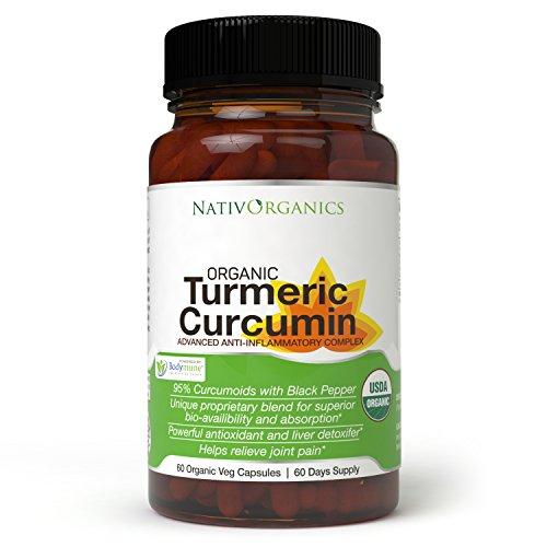 Organic Turmeric Curcumin Supplement – 100% Vegan Organic Turmeric Capsules with Black Pepper Plus Ginger, Amla & Goji for Max Absorption - Highest Potency 95% Curcumoids - 60 Caps