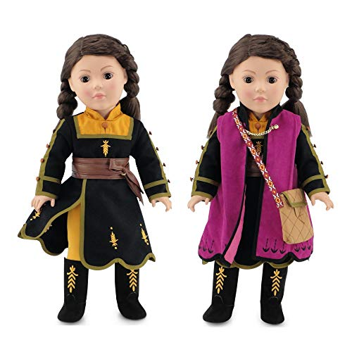 Emily Rose Doll Clothes for 18 inch American Girl Dolls   Princess Anna Frozen 2 Inspired 6 PC Outfit with Boots  18 Inch Doll Clothes for Journey Girls and Similar Dolls