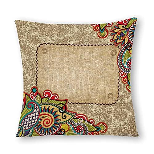 Funda de almohada de algodón y cáñamo con impresión de doble cara, 45 cm x 45 cm