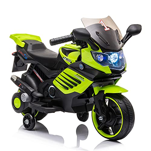LISUEYNE Kids Ride On Motorcycle,6V Electric Power Motorcycle with Training Wheels,Electric Ride On Cars with LED Light,Music,Horn Electric Motorcycle for Boys and Girls,Red