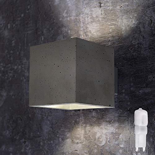 Innenleuchte Wandleuchte Wandlampe aus Beton LORA BETON (Quadratisch, Grau) Inkl. 1 x LED GIO 2.5W Warmweiss, Eckig Wandbeleuchtung Leuchte Up-Down, Fassung G9