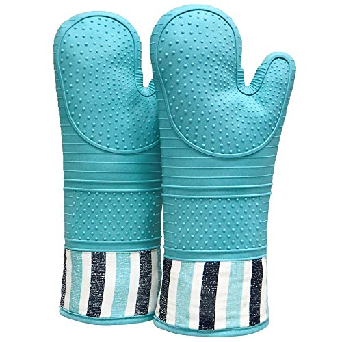 RED LMLDETA Heat Resistant 550 Degree Oven mitt, Silicone Oven Hot Mitts - 1 Pair, Extra Long Professional Baking Oven Gloves - Food Safe,Pot Holders Cooking,Grilling,Kitchen (Blue)