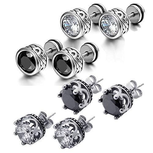 Oidea 4 pares (8 unidades) de pendientes para hombre y mujer, antialergénicos, redondos, corona, topems, pendientes de acero inoxidable, circonitas, plata y negro