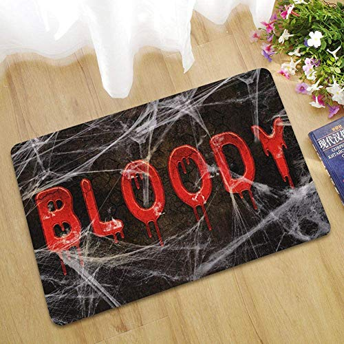 Sccarlettly Halloween Blood Footprint Badematte Farbwechsel Blatt Wird Rot Nass Machen Sie Blutende Fußabdrücke Anti Rutsch Badezimmermatten 60X90Cm 24X35Inches Braun (Color : Schwarz, Size : Size)