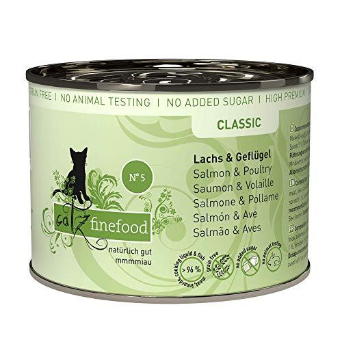 catz finefood N° 5 Lachs & Geflügel Feinkost Katzenfutter nass, verfeinert mit Spinat & Tomate, 6 x 200g Dosen