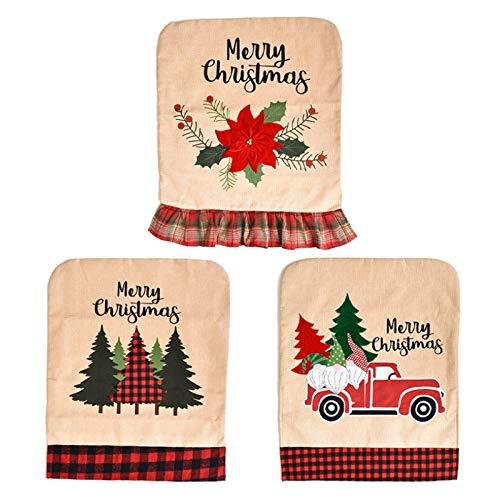 Casinlog - Coprisedia in lino, motivo albero di Natale, motivo albero di Natale, per sedie e sedie, decorazione natalizia