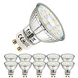 EACLL Bombillas LED GU10 4000K Blanca Neutra 5W Fuente de Luz 495 Lúmenes Equivalente 50W Halógena. AC 230V Sin Parpadeo Focos, 120 ° Spotlight, Blanco Neutro natural Lámpara Reflectoras, 10 Pack