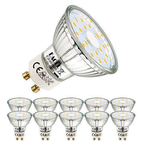 Bombillas LED EACLL GU10 Fuente de luz blanca neutra 5W 4000K 495 lúmenes, equivalente incandescente halógeno de 50W. Focos reflectores con haz ancho de 120 °, 230 V CA, sin parpadeo, paquete de 10