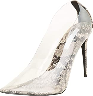 Cambridge Select Women's Pointed Toe Clear See-Through Faux Snake Stiletto High Heel Pump