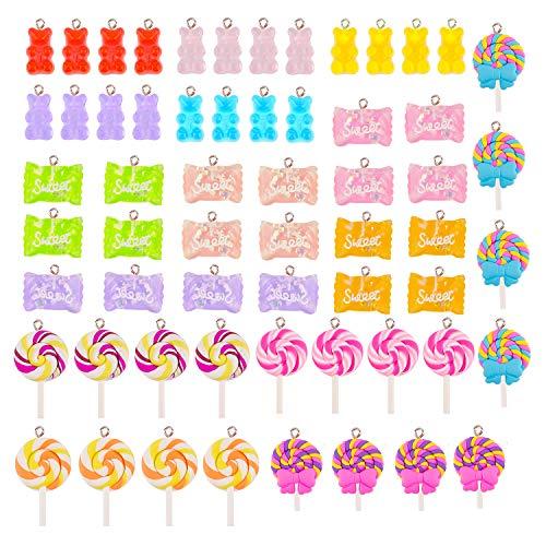 KINBOM 60pcs Colorido DIY Gummy Bear Candy Encantos De Piruleta Colgantes De Arcilla Polimérica DIY para Novedad Casera Fresca Collar Pendiente Llaveros