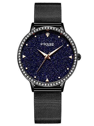 Alienwork Armbanduhr Damen schwarz Metall Mesh Armband Edelstahl echtes Marmor Zifferblatt Strass-Steinen
