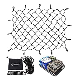 "powerful Outdoor Shock Cargo Net – Heavy 47 ""x36"" elastic lashing net with 14 adjustable hooks…"