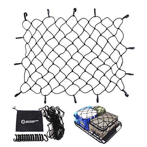 Cargo Net by Outdoor Shock - Heavy Duty 47' x 36' Elastic Tie-Down Net with 14 Adjustable Hooks made out of 3' x 3' Mesh Size- Bungee Cord Auto Rooftop and Net Retainer Holds Cargo Tight