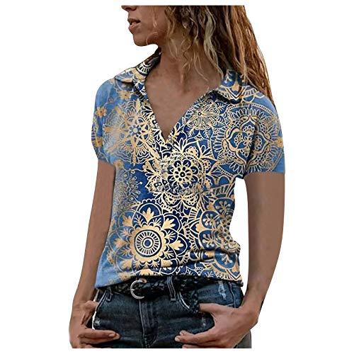 Camiseta de verano para mujer, cuello en V, con cremallera, manga corta, túnica azul XXL