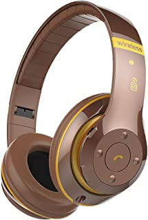 D DOLITY Noise Cancelling Headphones Bluetooth with Microphone/Deep Bass Wireless Headphones Over Ear 10 Hours Playtime for Travel/Work/Cellphone - Brown