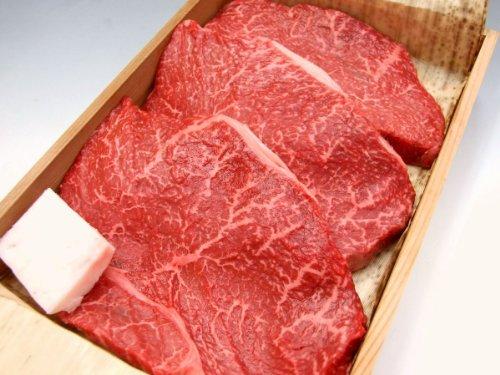 ギフト用 厳選 黒毛和牛 メス牛 限定 あっさり 赤身 モモ ステーキ 5枚セット 木箱詰め