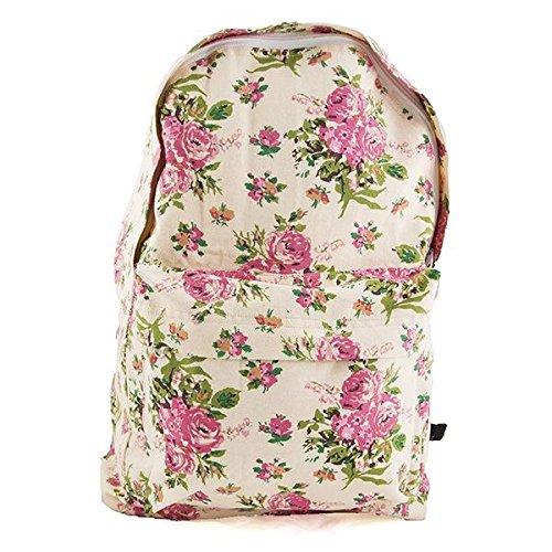 Pink Roses Floral Backpack Bag