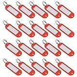 sourcing map Lot de 20 porte-clés en plastique avec anneau fendu pour étiquette de bagage Rouge 60 x 21 mm