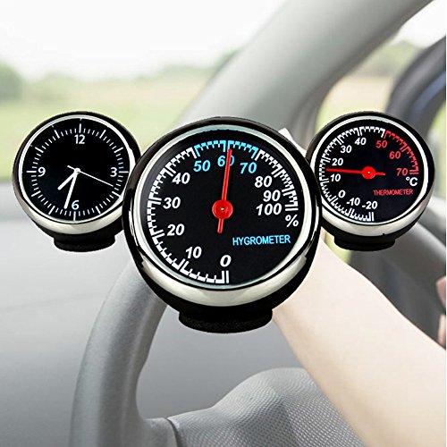 FADDR 3Pack Set Auto Armaturenbrett Kleines Auto Thermometer Hygrometer Mini Quarzuhr, empfindliche und nützliche Car Kit Zubehör, Mini Größe kann platzsparend Sein(3Set)