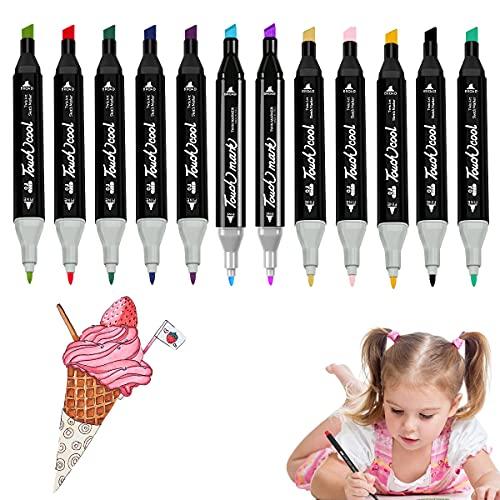 Colores Marker Pen, Colores Brillantes Fluorescentes Bolígrafo, Rotuladores Punta Pincel Acuarelables Marcadores, para Principiantes Set de Rotuladores de Boceto Hecho a Mano, 1mm y 6 mm, 12 piezas