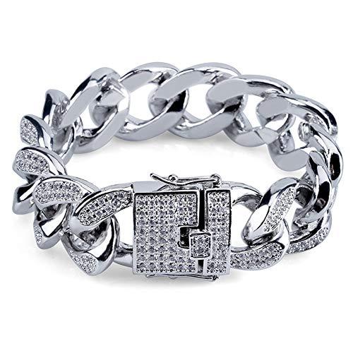 Hip Hop Pulsera de cadena cubana, para hombres y mujeres, pulsera de circonita, joyería de cristal y amor de moda, regalo de cumpleaños para novio, mamá y papá (oro, plata), 123, plata, 8inch
