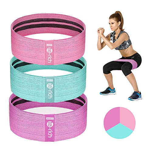 Te-Rich Resistance Bands for Legs and Butt, Fabric Workout Bands, Thick Wide Non-Slip Gym Bootie Band 3 Set for Squat Glute Hip Training
