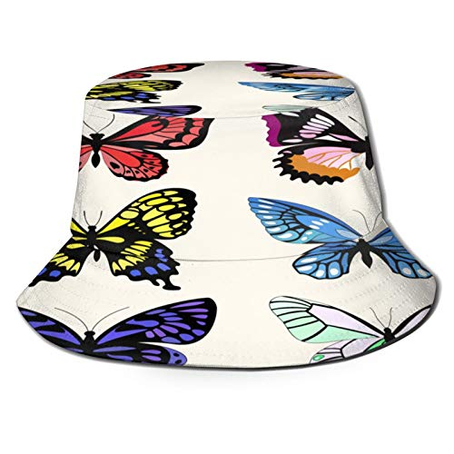 MAYUES Unisex Bucket Sun Hats Vector Set Six Different Butterflies Fashion Summer Outdoor Travel Beach Fisherman Cap
