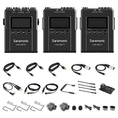 Saramonic New UwMic9S UHF Wireless Microphone System 96 Channel 2 Trasmettitori 1 Ricevitore per Phone Camera Broadcast Podcast TV, ENG, Film Make, Vlog Video Recording (TX+TX+RX)