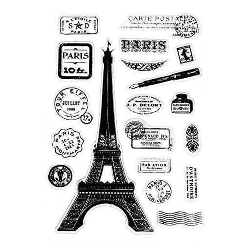 Clear Silicone Stamp Sheet Impression Scrapbooking Gaufrage Stamper étanchéité pour Bricolage Scrapbook Albums Photo Papier Cahier de Carte Faire des Arts Artisanat Fournitures Paris Tour Eiffel