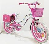 Bicicletta ragazza 20' Pollici Bianca Rosa bambina bici con cavalletto su Sfera per ragazze con...