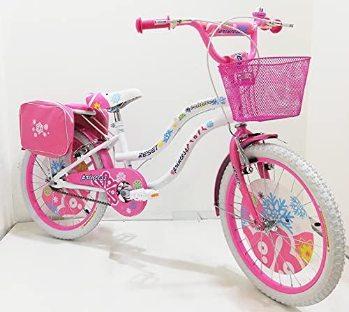Bicicletta ragazza 20' Pollici Bianca Rosa bambina bici con cavalletto su Sfera per ragazze con Freni V-Brake Azzurro, con paracatena e parafanghi, borse e cestino (Bianco)