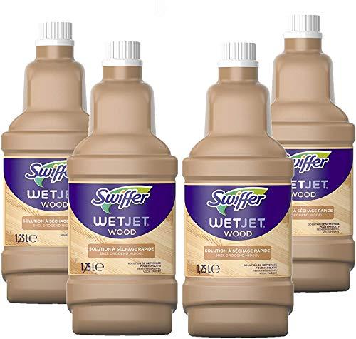 Swiffer WetJet Wood Nettoyant Sol pour Balai Spray, Conçu pour les sols en bois fini, 5 L (4 x 1.25 L)