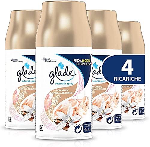 Glade Automatic Spray Ricarica, Fragranza Romantic Vanilla Blossom, Formato Scorta, 1 Confezione da 4 x 269 ml