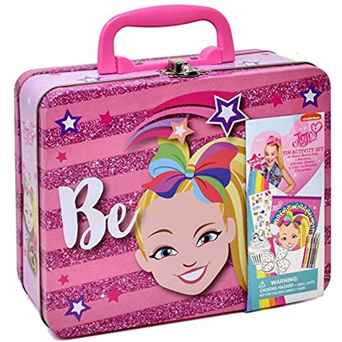 Jojo Siwa Coloring and Activity Tin Box, Includes Markers, Stickers, Mess Free Crafts Color Kit in Tin Box, for Toddlers, Boys and Kids